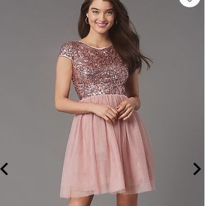 Pink dress with sequin top and tulle bottom. Sz. S